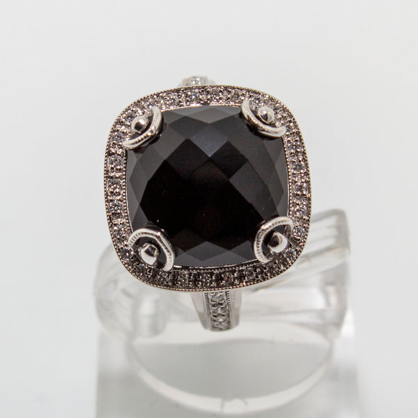 18ct White Gold Onyx & Diamond Ring