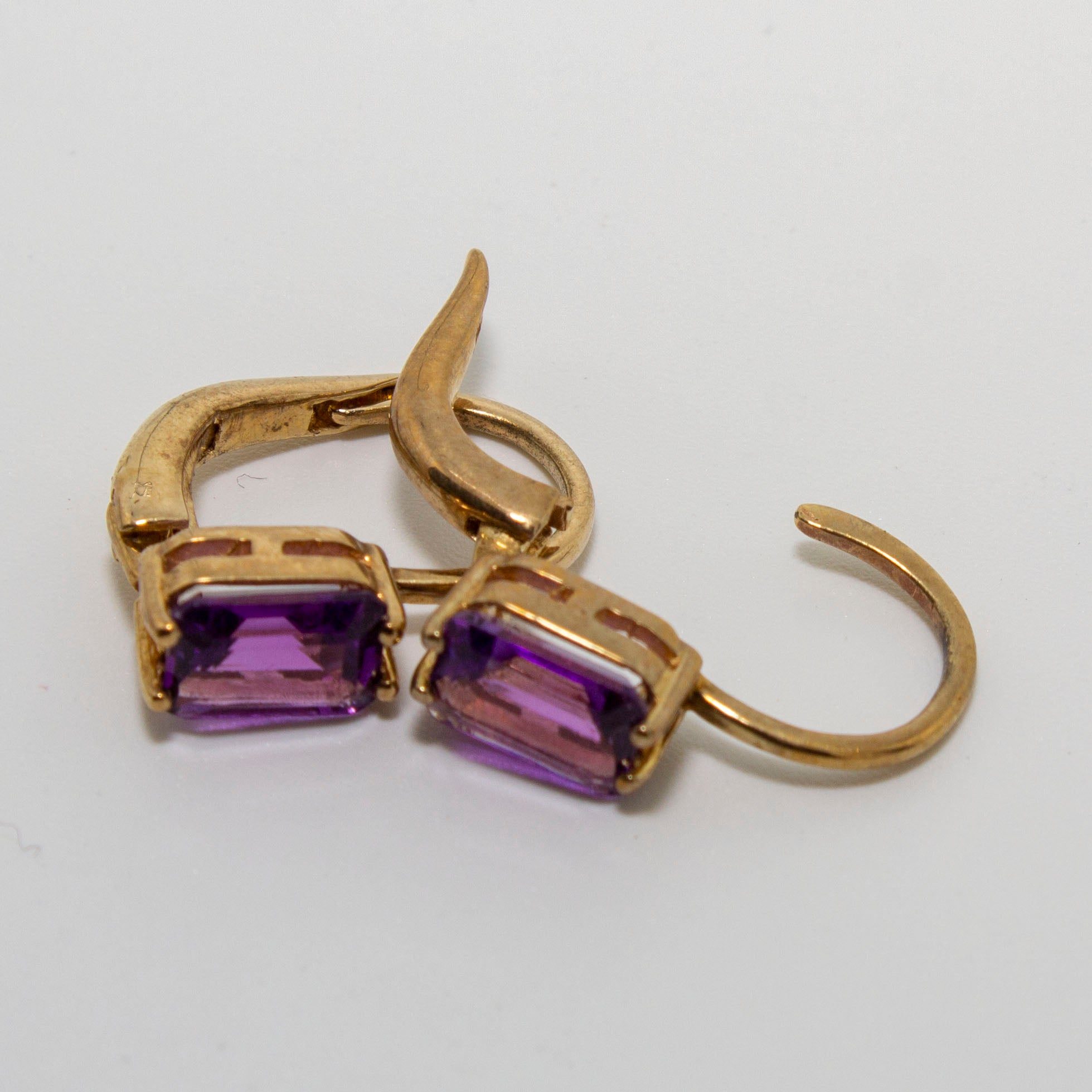 9ct Yellow Gold Emerald Cut Amethyst Earrings