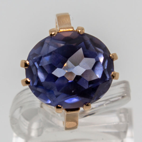 14ct Rose Gold Synthetic Sapphire Ring