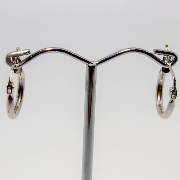 18ct White Gold Rounded Hoop Earrings