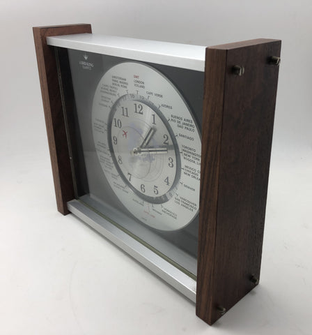Vintage Mid Century Lord King World Time Clock - Made in Japan