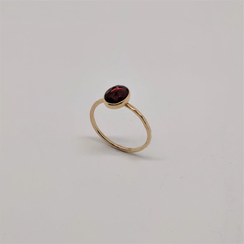 14ct Bezel Set Solitaire Garnet Ring