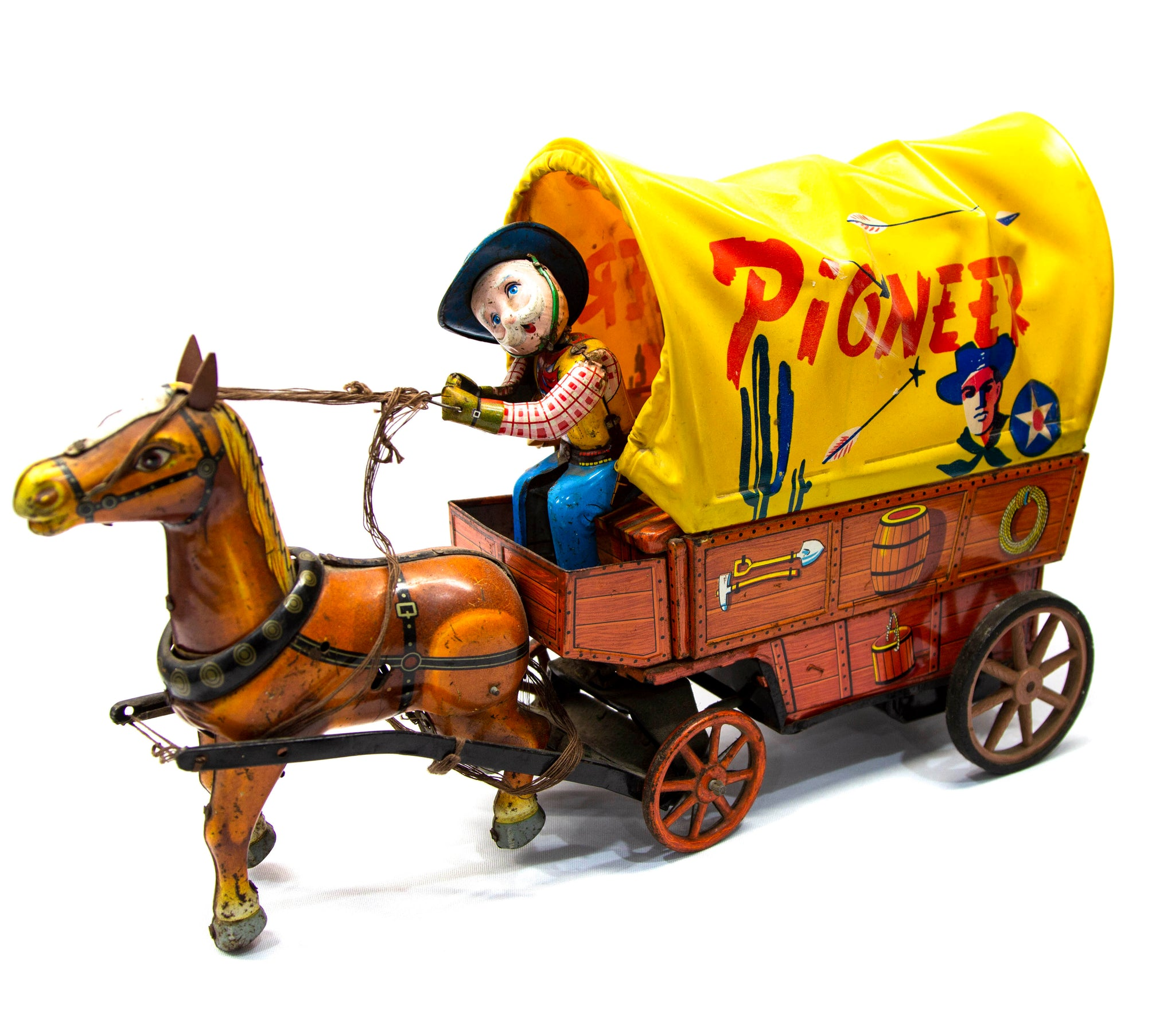 Ichida Pioneer Covered Wagon Tin Toy