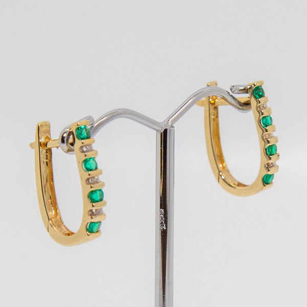 9ct yellow gold diamond and emerald earrings