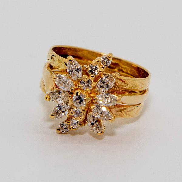 14ct Yellow Gold Diamond Ring Marquise cut