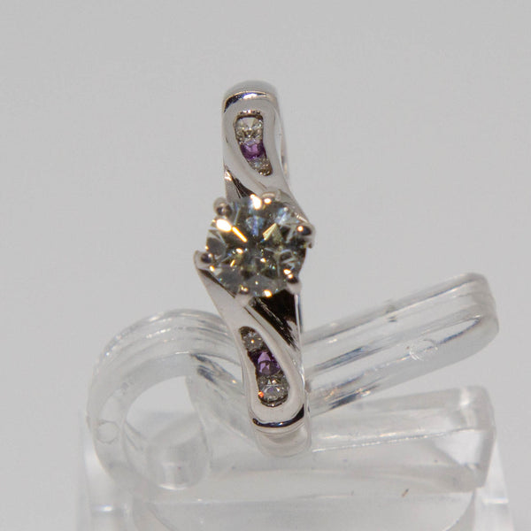 18ct white gold diamond and amethyst ring