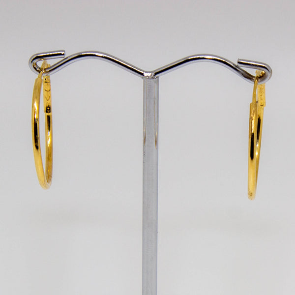 18ct Yellow Gold Thin Hoop Earrings