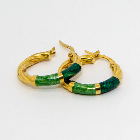 18ct Yellow Gold Coloured Twist Hoops