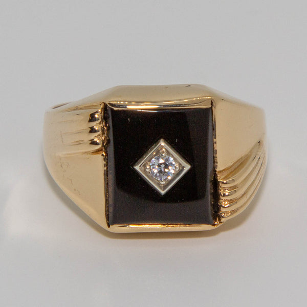 9ct Yellow Gold Cubic Zirconia & Onyx Ring