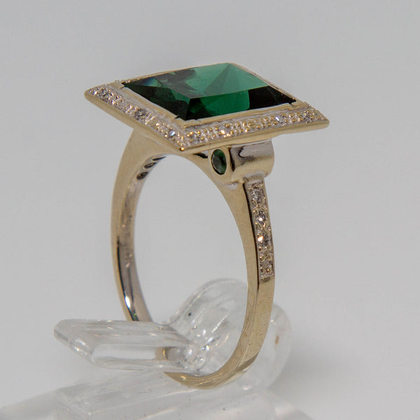 10ct White Gold Resin & Diamond Ring
