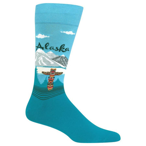Men's Travel Themed Crew Socks - Alaska
