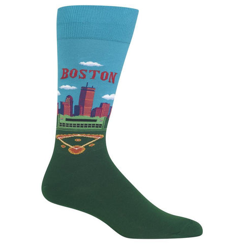 Men's Travel Themed Crew Socks - Boston