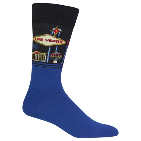 Men's Travel Themed Crew Socks - Las Vegas