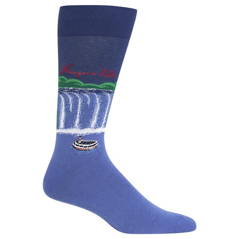 Men's Travel Themed Crew Socks - Niagara Falls