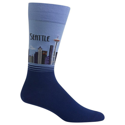 Men's Travel Themed Crew Socks - Seattle