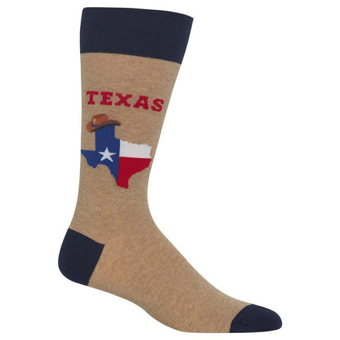 Men's Travel Themed Crew Socks - Texas