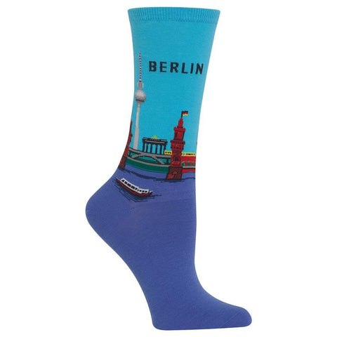 Women's Travel Themed Crew Socks - Berlin