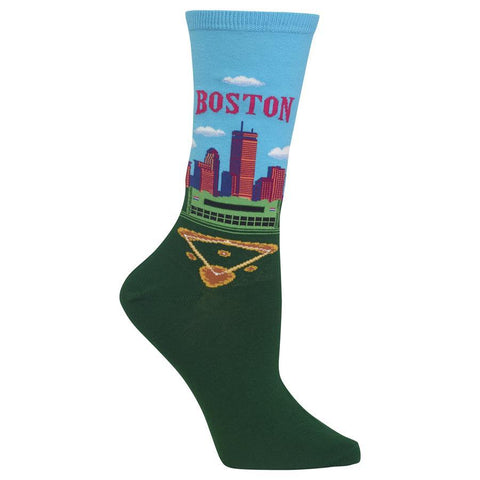 Women's Travel Themed Crew Socks - Boston
