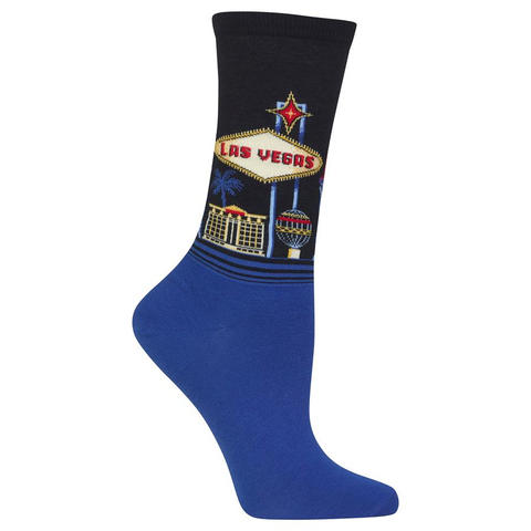 Women's Travel Themed Crew Socks - Las Vegas