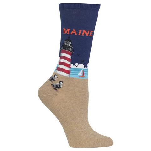 Women's Travel Themed Crew Socks - Maine