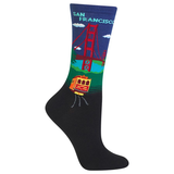 Women's Travel Themed Crew Socks - San Francisco