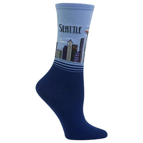 Women's Travel Themed Crew Socks - Seattle