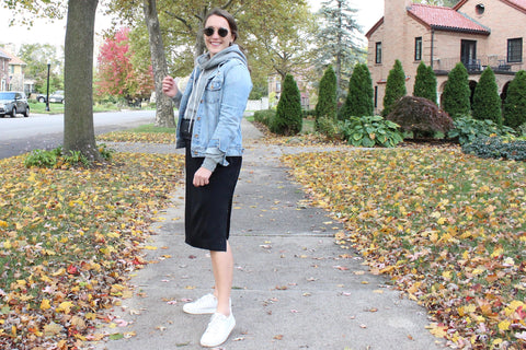 Ty Lace dress layered with hoodie and denim jacket