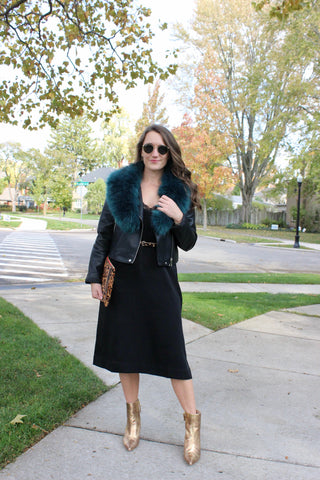 Ty Lace dress with faux fur stole and gold boots