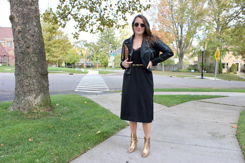 Ty Lace dress with gold boots and faux leather jacket