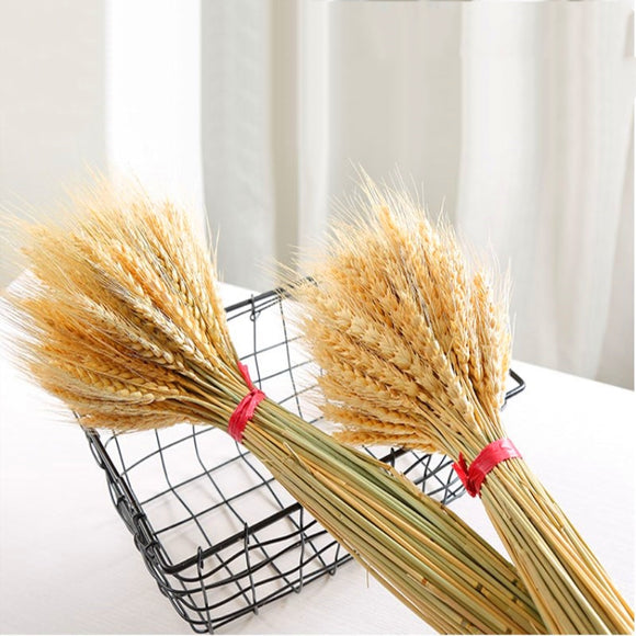 50PC/lot Artificial Wheat Ears Natural Dried Flowers Grain Bouquet for Wedding Party Decor DIY