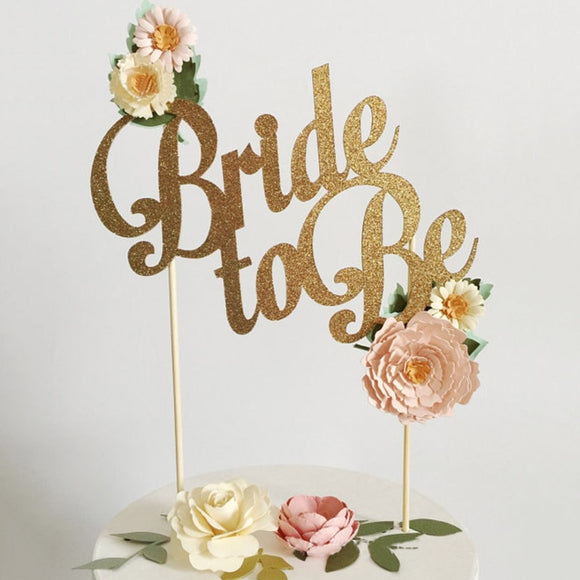 Gold & Silver Bride-To-Be Cake Topper