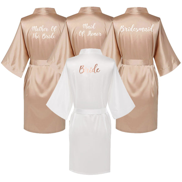 Champagne & White Silk Robes
