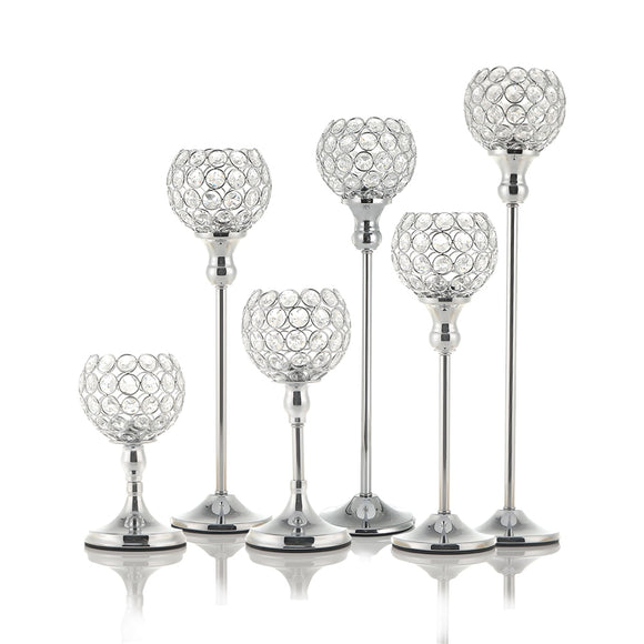 Silver Crystal Tealight Candle Holders
