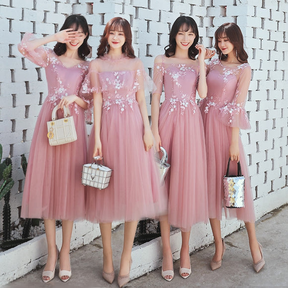 Beauty Emily A line Lace Dark Pink Bridesmaid Dresses 2019 Short for Women Plus Size Wedding Party Prom Girl Guest Dresses