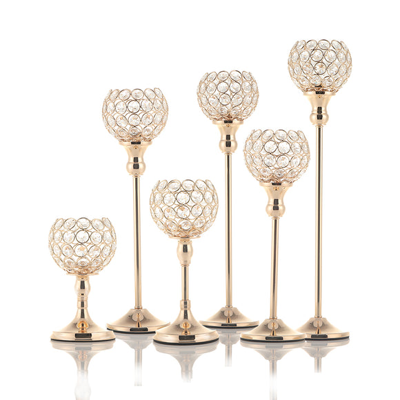 Gold Crystal Tealight Candle Holders