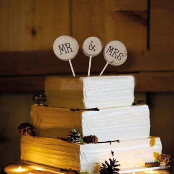 Mr & Mrs Rustic Cake Topper