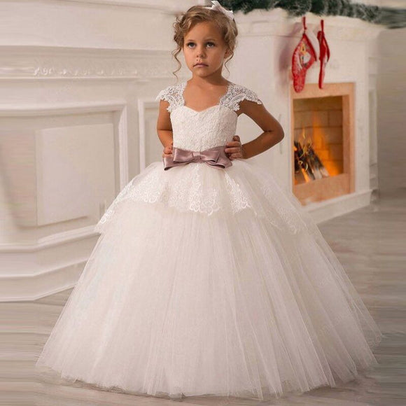 White Flower Girls Dress For Wedding Tulle Lace Long Girl Dress For Kids 12T