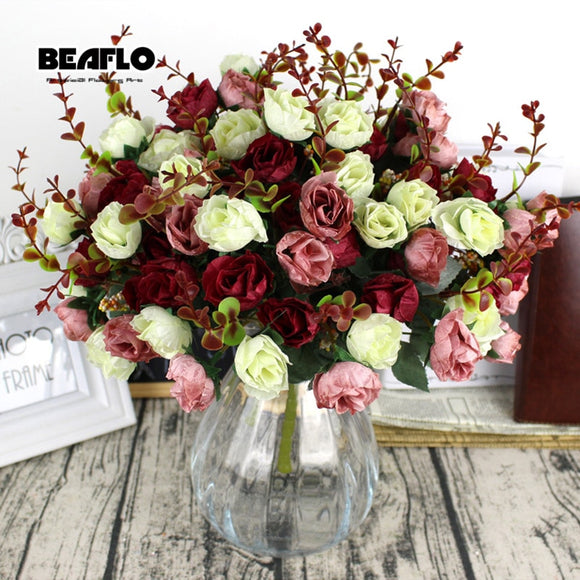 1Bunch Fresh Artificial Rose Flowers 21 heads Romantic DIY Fake Silk floral for Wedding Party Home Decoration