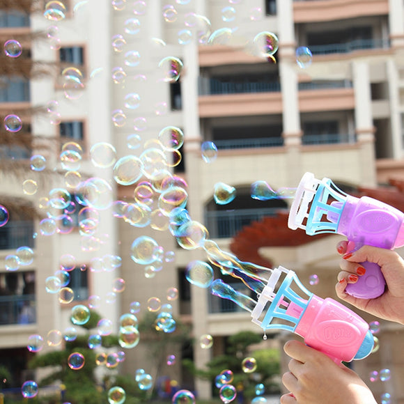 Funny Magic Bubble Blower Machine Electric Automatic Bubble Maker Gun with Mini Fan for Outdoor Weddings