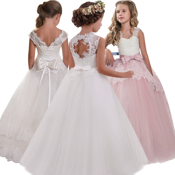 Elegant Girls' Flower-lace Banquet Dress with Hollow Back for Wedding