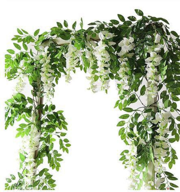 2M Wisteria Artificial Flowers Vine Garland Wedding Arch Decoration Fake Plants Foliage Rattan Trailing Faux Flowers Home Decor