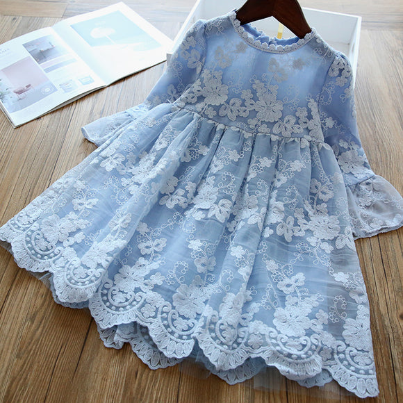 Elegant Flower Girls Dress Wedding Party Princess Dress Lace Long Sleeves Dress Children's Vestidos For 3-8T