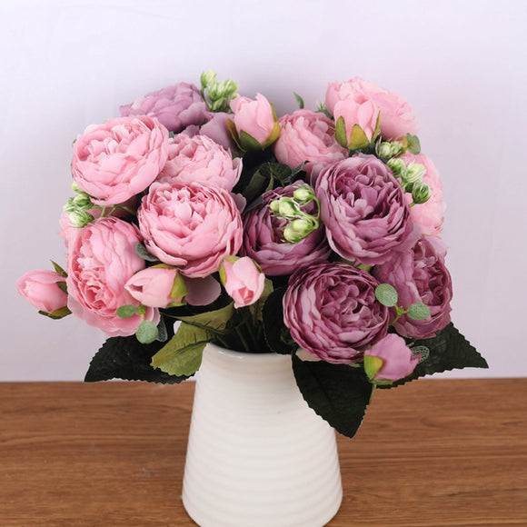 30cm Rose Pink Silk Bouquet Peony Artificial Flowers 5 Big Heads 4 Small Buds Bride Wedding Decoration Fake Flowers Faux