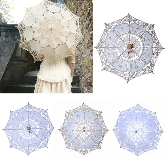 Bridal Umbrellas Wedding Floral Lace Umbrella for Women Romantic White Ivory Embroidery Parasol Umbrella Wedding Supplies