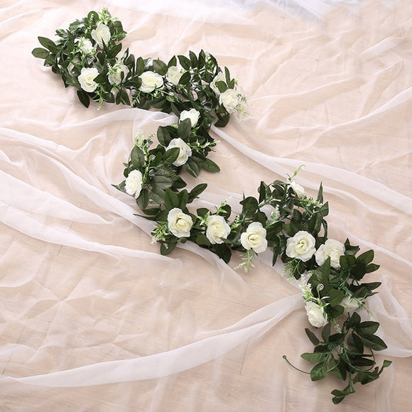 silk artificial rose vine hanging flowers for wall decoration rattan fake plants leaves garland romantic wedding