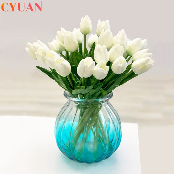 10pcs Artificial Flowers Garden Tulips Real Touch Flowers Tulp Bouquet Marriage For Wedding Decorations Fake Flower