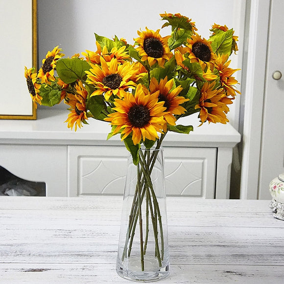 50cm long fall silk artificial sunflowers DIY flowers branch for home wedding autumn decoration fake plastic stem sunflower