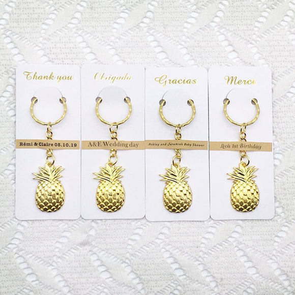 100pcs/lot Wedding Favors Birthday Party Gifts for Guests Golden Color Pineapple KeyChain with Personalized Thank you Card