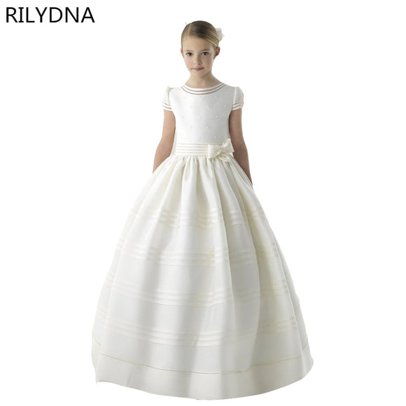 New Arrival Flower Girl Dress Short Sleeve Belt With Flowers Customized