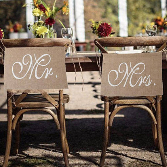 2pcs/set Wedding Decoration Pennant Reception Sign Mr And Mrs Linen Flag Chair Banner